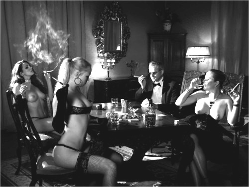 elegant dinner party with nude women
