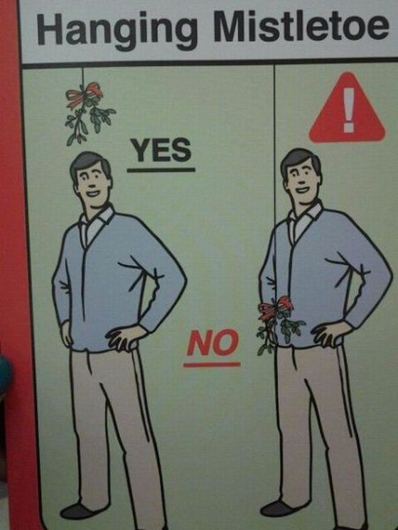 cartoon of good and bad placement of mistletoe