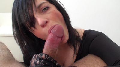 austrian amateur web porn star Klixen stroking and licking a cock with lace gloves on