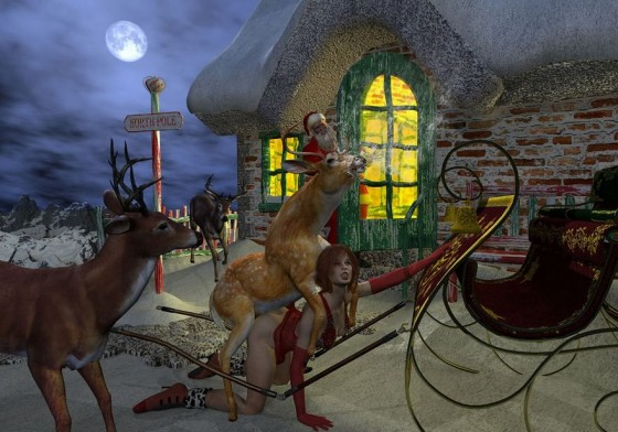 digital art image of reindeer resting from pulling sleigh and mounting a woman in red lingerie