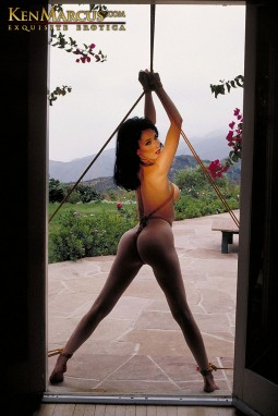 dita von teese in a bondage image by ken marcus with her wrists pulled above her head