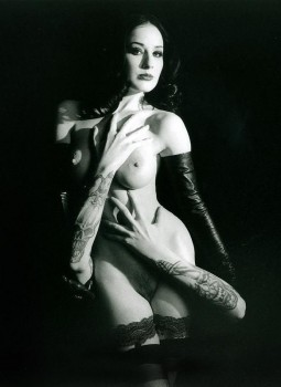 dita von teese nude wearing black opera gloves and with manson's hands on her body