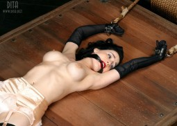 Dita Von Teese fetish image restrained gagged in lingerie and black opera gloves