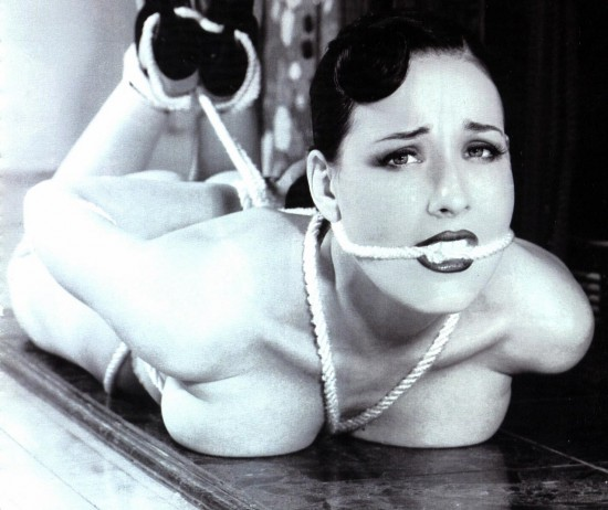 Dita Von Teese hogtied in rope bondage fetish image