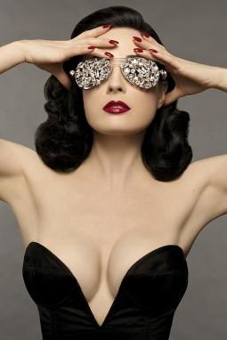 dita von teese in black bustier corset