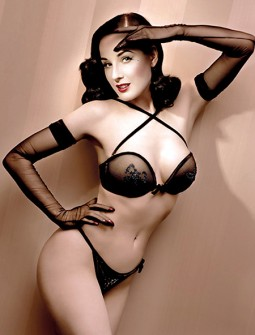 dita von teese in lingerie for her cointreau ad campaign