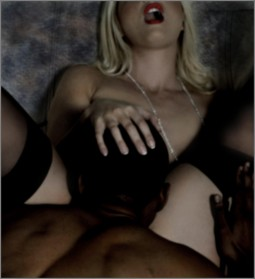 blonde white woman in stockings having her pussy eaten by a black man