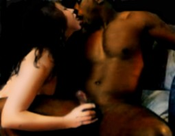 IR sex with white woman kissing a black man and stroking his thick cock