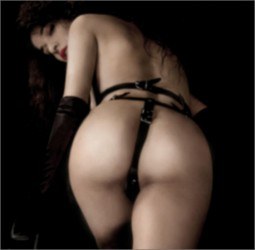 image by Garm of rear view of woman wearing only a leather and buckles garter style belt