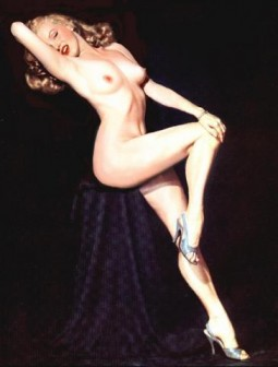 color image of an early years nude pose of Marilyn Monroe