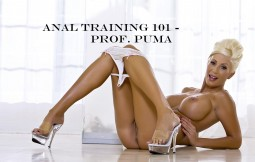 Professor Puma Swede reclining and ready to teach an anal sex seminar