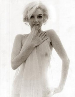 Marilyn Monroe nude with a see through veil held over her chest