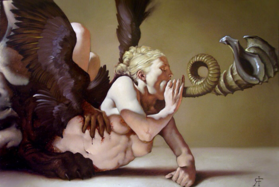 painting by Roberto Ferri with beast claws gripping woman