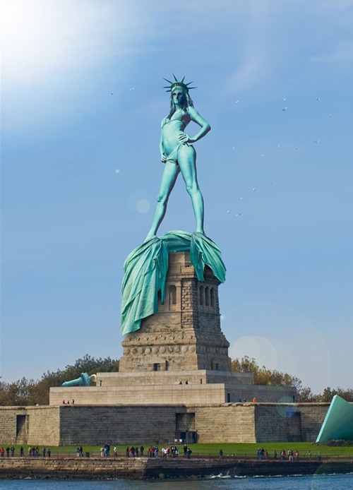 altered image of the Statute of Liberty nude and posed like a stripper