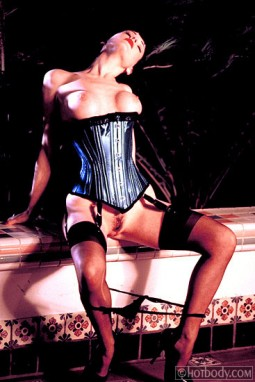 Dita - corset, bare boobs and pussy