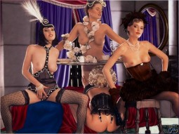 Dita in a lesbian foursome tea party