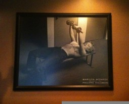 image of Marilyn Monroe bench pressing wtih dumbbells