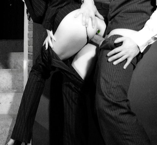 clothed sex with man in suit fucking woman in business suit with a jeweled buttplug