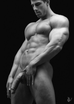 nude muscle man showing turgid cock