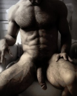 torso and turgid cock shot of lean muscled hot guy