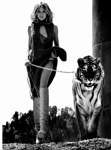 woman walking tiger with leash