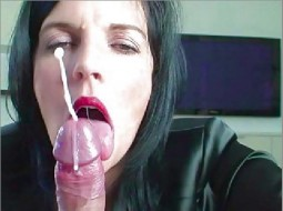 Klixen in lipstick licking a cock shooting a cumshot