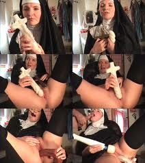 multi image of nun masturbating with a crucifex shaped dildo