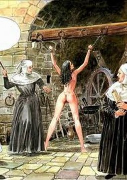 graphic illustration of nuns flailing a naked woman with her arms chained over her head