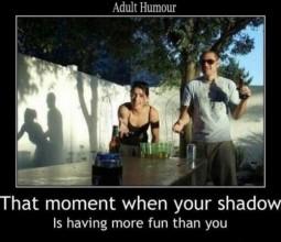 humorous adult image of shadow play