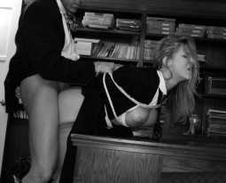 clothed man fucking tied up clothed woman in office sex