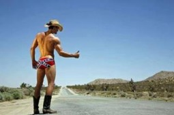 cowboy wearing only a hat, boots and confederate flag briefs hitch hiking on a desert road