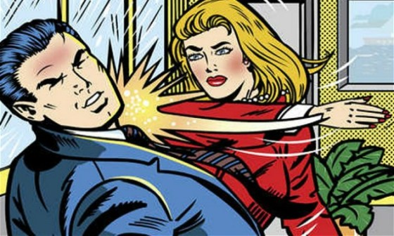 cartoon image of woman slapping man in suit